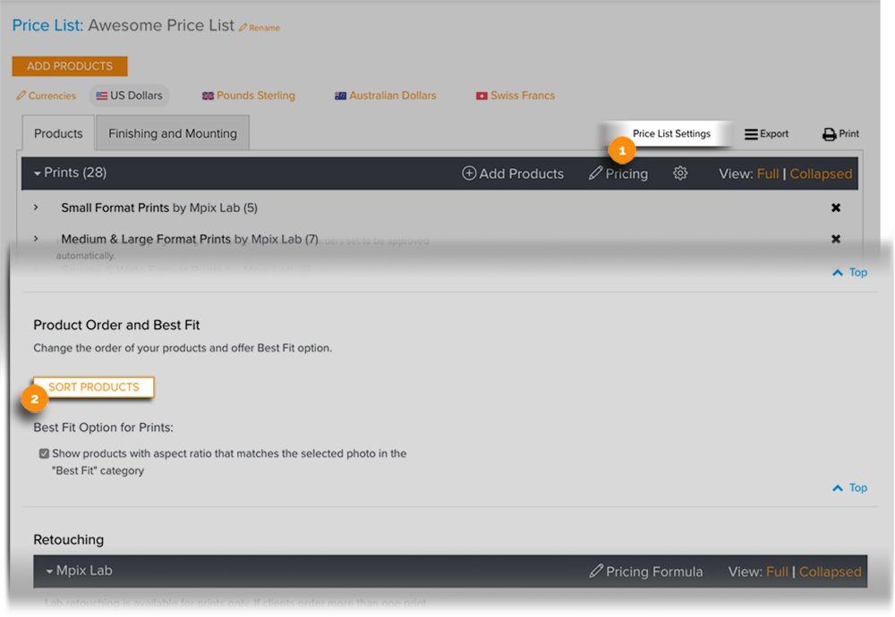 Price List Sort Products Button