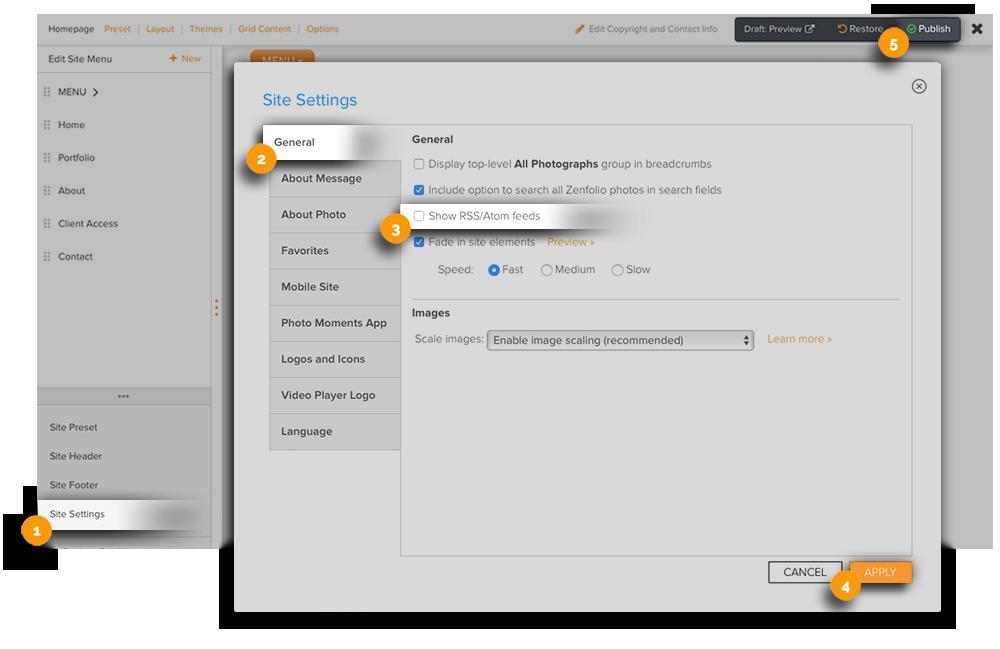 Hide RSS Feeds via Site Settings