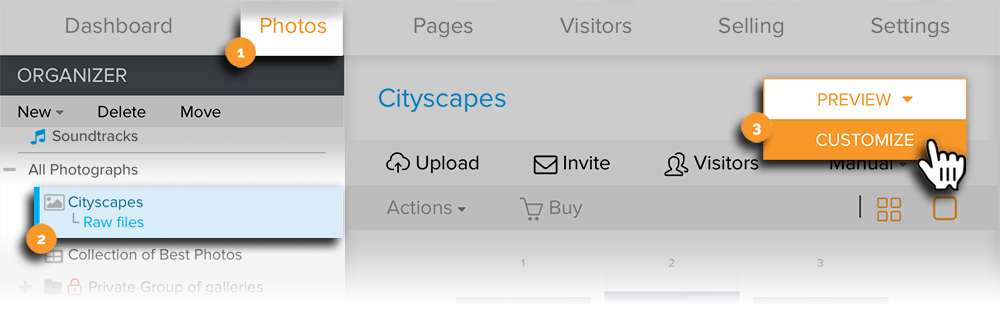 Open Gallery in Customize Visitor View