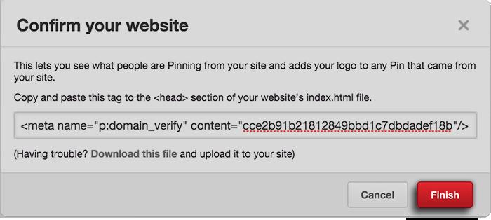 Pinterest Verification Finish