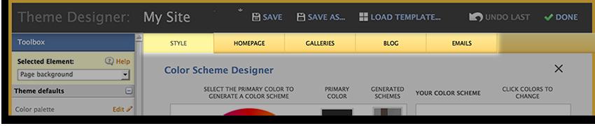 Theme Designer Tabs