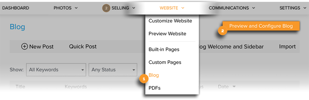 Preview and Configure Blog