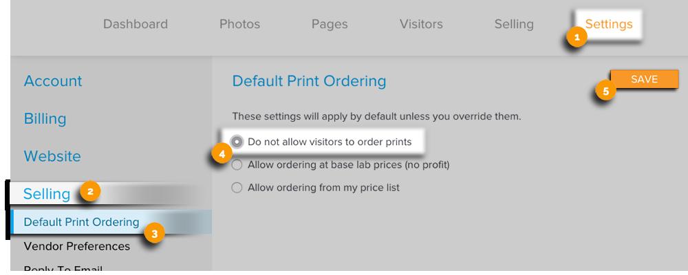 Default Print Ordering New Edit View