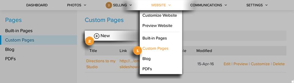 Create new Custom Page