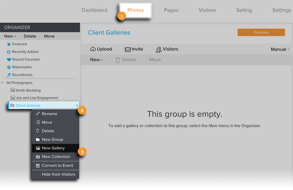 Create a Gallery, Group, or Collection via Organizer New Edit View